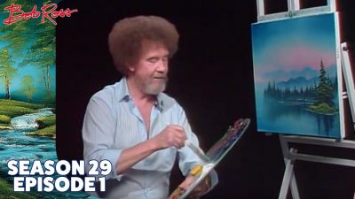 Bob Ross painting - island in the wildernes